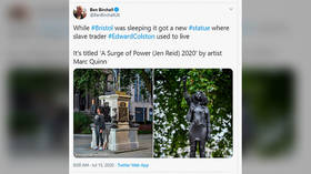Toppled UK slave trader statue replaced with figure of BLM protester. 'Doesn't reflect diversity, take it down,' Twitter users say