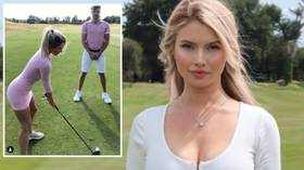 'Would you trust me?' Fans collectively WINCE as golf beauty Lucy Robson demonstrates SCARY trust shot (VIDEO)