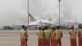 WATCH: Ethiopian Airlines plane catches fire on tarmac at Shanghai airport