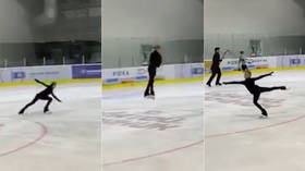 Quad generation: 12yo Russian figure skating prodigy nails INSANE jump at training session (VIDEO)
