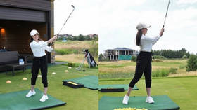 Getting in the swing: Russian Olympic champ Alina Zagitova plays golf after suspending figure skating career