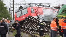 Rail tracks warped as two freight trains collide in Saint Petersburg (VIDEO)