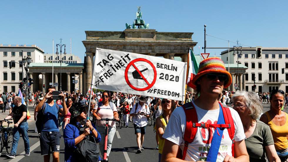 Right-Wing Supporters, Opponents of Vaccinations and Conspiracy Theorists Join 'The End of the Pandemic' March in Germany