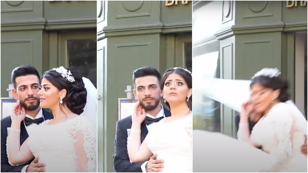 WATCH ANOTHER serene wedding photoshoot violently interrupted by Beirut blast shockwave
