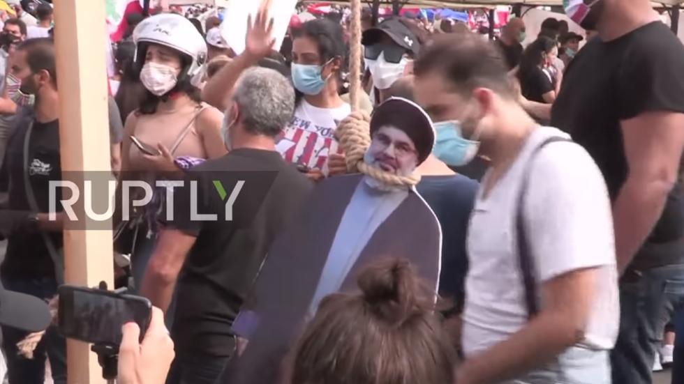You will hang! Lebanese protesters 'execute' cardboard cutouts of PM, President & Hezbollah's Nasrallah (VIDEO)