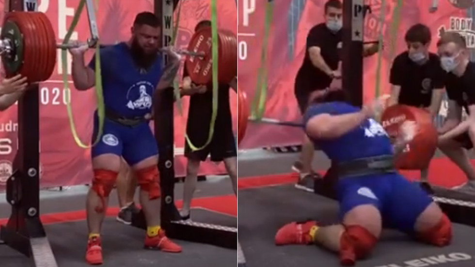 Russian power lifting champ fractures BOTH KNEES in horror injury as he narrowly avoids being crushed by 400kg load (GRAPHIC)