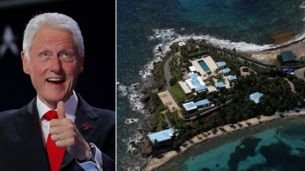 'Can't make this up': Photos of Bill Clinton being MASSAGED by Epstein 'sex slave' surfaces just in time for Dem convention speech