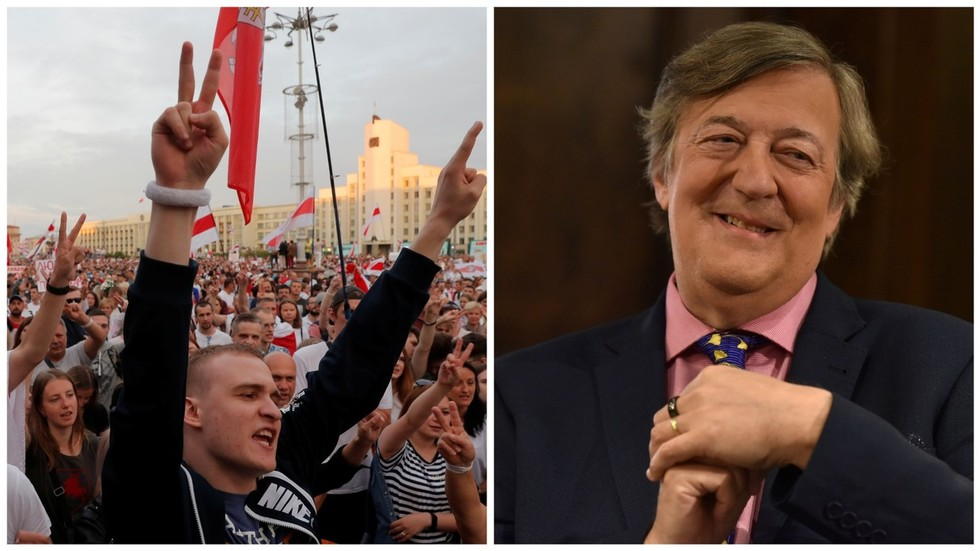 Stephen Fry supports Belarus protests… but the Twitter applause is nowhere near his screen fame