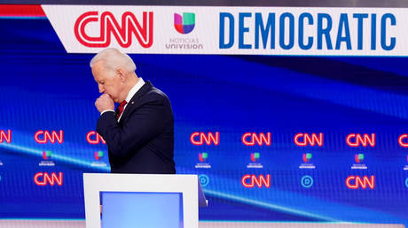 FILE PHOTO: Democratic presidential candidate Joe Biden at the 11th Democratic primary debate hosted by CNN in Washington, DC.