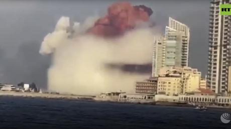 WATCH huge mushroom-like cloud cover Beirut's docks area after 'fireworks ship' explodes