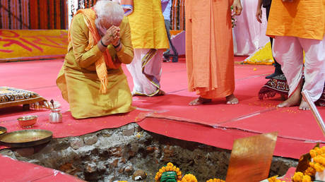 India's Prime Minister Narendra Modi in Ayodhya, India. August 5, 2020. India's Press Information Bureau / Reuters