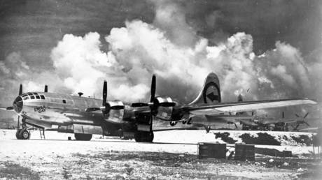 Enola Gay Boeing B-29 on 6 August 1945, during the final stages of World War II, became the first aircraft to drop an atomic bomb.