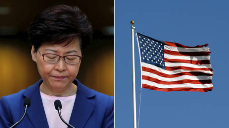 (L) Carrie Lam; (P) The American Flag