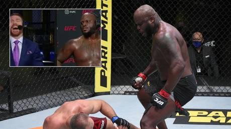 Derrick Lewis defeats Alexey Oleynik in their UFC Fight Night heavyweight main event. © Zuffa LLC / Twitter @btsportufc