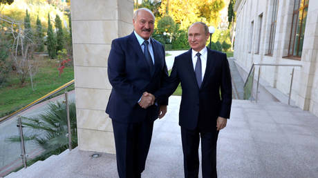 FILE PHOTO: Russian President, Vladimir Putin, meets with Belarusian President, Alexander Lukashenko, in Sochi. © Reuters / Mikhail Klimentyev