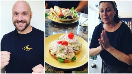 Tyson Fury samples some Russian Olivier salad. © Instagram @gypsyking101