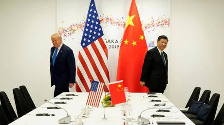 US President Donald Trump and China's President Xi Jinping in Osaka, Japan, June 29, 2019.