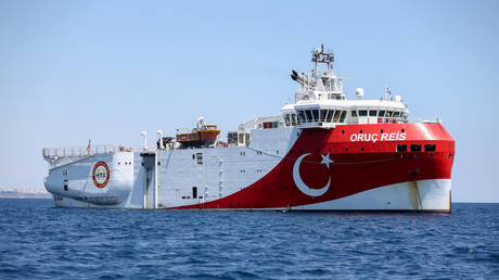 Oruc Reis seismic research vessel is seen as it is ready for a new seismic research activity in the Eastern Mediterranean in Antalya, Turkey on July 22, 2020. © Getty Images / Anadolu Agency / Orhan Cicek
