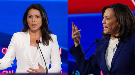 Rep. Tulsi Gabbard (left) famously clashed with Sen. Kamala Harris during the July 31, 2019 Democrat presidential debate
