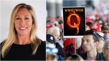 FILE PHOTOS: (L) Georgia Republican House candidate Marjorie Taylor Greene; (R) A man holds a QAnon sign at a campaign rally for President Donald Trump in Las Vegas, Nevada.