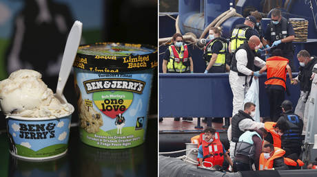 (L) Ben & Jerry's 'Bob Marley's One Love' ice cream; (P) Migrants disembark after arriving at Dover harbour, in Dover, Britain August 12, 2020.