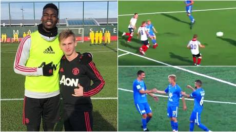 Russian forward Sergey Pinyaev has trained with Manchester United and made history in his homeland with his strike. © Instagram @spinyaev09 / Twitter @FNLeague