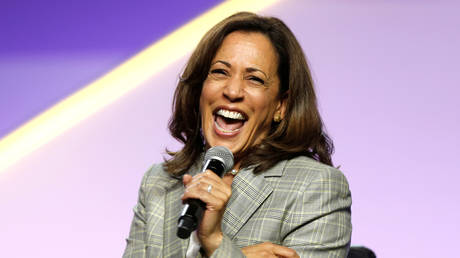 FILE PHOTO: Kamala Harris laughs during an NAACP convention in Detroit, Michigan, July 24, 2019 © Reuters / Rebecca Cook