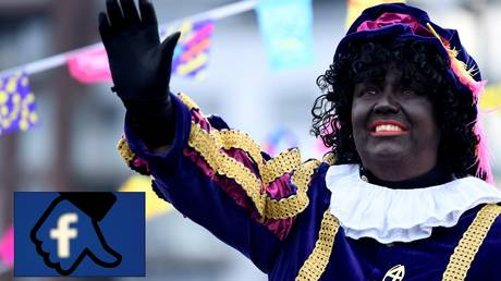 "Collage: ""Zwarte Piet"" (Black Pete) in Scheveningen, Netherlands, November 16, 2019 © REUTERS/Piroschka van de Wouw; Facebook dislike button illustration © REUTERS/Dado Ruvic"