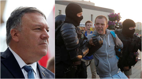 FILE PHOTOS: (L) US Secretary of State Mike Pompeo delivers a speech in Pilsen, Czech Republic; (R) Police detain a man during a rally of opposition supporters following the presidential election in Minsk, Belarus.