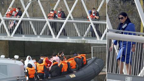 (L) Migrants disembark after arriving at Dover harbour, in Dover, Britain August 11, 2020; (P) Home Secretary Priti Patel in Dover