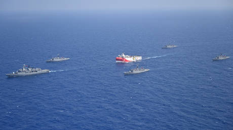 Survey ship Oruc Reis is escorted by Turkish Navy ships in the Mediterranean Sea, August 10, 2020.