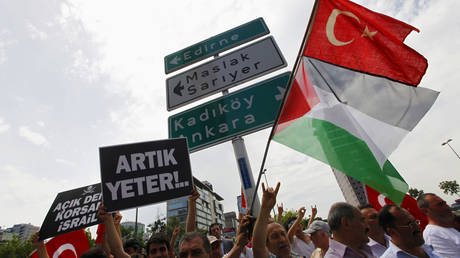FILE PHOTO. Demonstrators waving flags of Turkey and Palestine during a protest against Israel in Istanbul. ©REUTERS / Murad Sezer