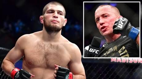 Superfight: Khabib Nurmagomedov and (inset) Georges St-Pierre