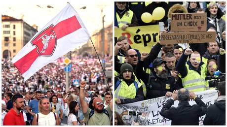 Anti-government rallies in Minsk, Belarus (L) and a 'Yellow Vests' demonstration in France (R) / Sergei Gapon; Francois Lo Presti / AFP