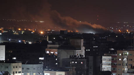 Smoke rises following an Israeli air strike on Gaza, August 18, 2020.