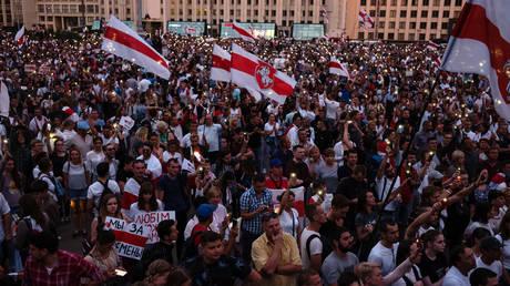 Demonstrators participate in an anti-Lukashenko rally on August 18, 2020 in Minsk, Belarus