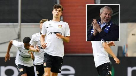 Chelsea target Kai Havertz and club owner Roman Abramovich. © Reuters