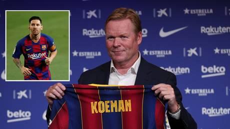 New Barcelona boss Ronaldo Koeman and star man Lionel Messi. © Reuters