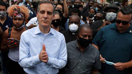 Mayor of Los Angeles Eric Garcetti stands next to demonstrators, in Los Angeles, California, US. June 2, 2020.