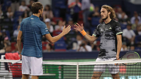 Medvedev and Tsitsipas in Shanghai in 2019. © Getty Images
