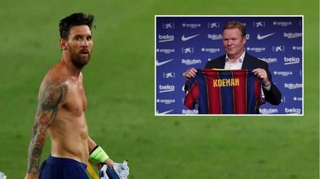 Lionel Messi and new Barcelona boss Ronald Koeman. © Reuters