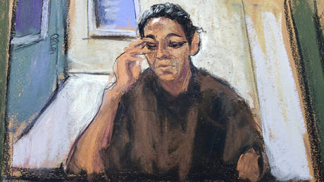FILE PHOTO: Ghislaine Maxwell appears in a courtroom sketch after being charged with aiding Jeffrey Epstein's abuse of minor girls, in New York City.