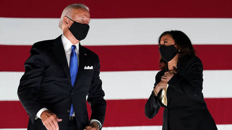 Democratic presidential candidate Joe Biden and running mate Kamala Harris at the Democratic National Convention, August 20, 2020.