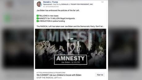 Trump campaign Facebook ad © Reuters / Handout