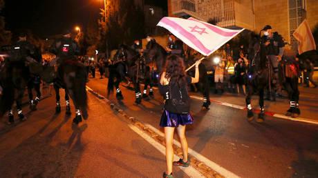 A protest against Israeli Prime Minister Benjamin Netanyahu's alleged corruption in Jerusalem August 22, 2020.