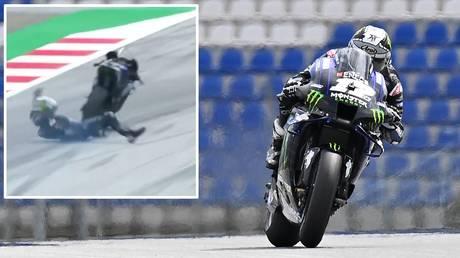 High-speed dismount: Yamaha racer Maverick Vinales