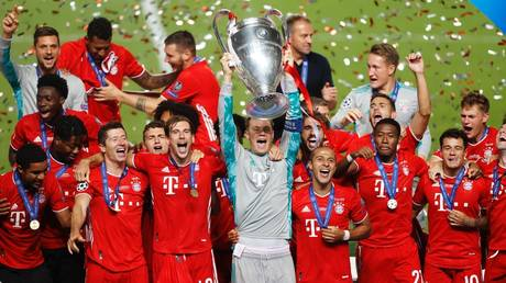 We are the champions! Bayern goalkeeper Manuel Neuer lifts the European Cup after the Bundesliga side's Champions League final victory over PSG