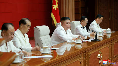 Kim Jong-un addresses a plenary meeting of the Central Committee of the Workers' Party of Korea. ©KCNA via REUTERS