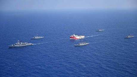 Turkish survey vessel Oruc Reis escorted by Turkish warships in the Mediterranean Sea off Antalya on August 21, 2020. © Turkish Defense Ministry / AFP