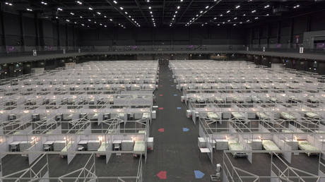 An exhibition hall that has been converted into a facility to treat coronavirus patients is pictured in Hong Kong, China August 1, 2020.